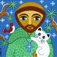 San Francisco de Asís & CAT arte popular impresión por thatsmycat