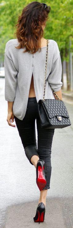Massimo Dutti Grey Women's Open Back Button Up Sweater by Farabian- ~LadyLuxury ~