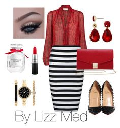 """""""Stripes + red"""" by lizz-med ❤ liked on Polyvore featuring MICHAEL Michael Kors, Ally Fashion, Christian Louboutin, M&Co, Victoria's Secret, MAC Cosmetics, Style & Co. and Liz Claiborne"""
