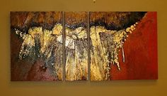 "CAROL NELSON FINE ART BLOG: Geological Abstract Art Painting ""GOLDEN MANTLE"" by Colorado Mixed Media Artist Carol Nelson-http://carolnelsonfineart.com/workszoom/212194"