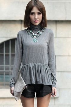 #Romwe Roll Neck Skirted Grey T-shirt
