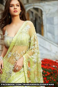 Maria Sokolovski in Seasons India collection 2009 Indian Fashion, Womens Fashion, Ethnic Fashion, Desi Clothes, Saree Wedding, Woman Face, Indian Beauty, Sexy Dresses, Blouse Designs