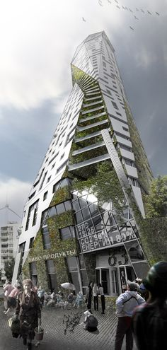 Eco Tower on Behance - the perspective view on this is amazing and I love the characters at the bottom of the building.  Has it been built yet?  Ukraine is a bit touchy right now.