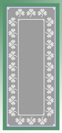 Crochet pattern for a filet St. Patrick's Day runner featuring a shamrock border Filet Crochet Charts, C2c Crochet, Crochet Home, Thread Crochet, Crochet Stitches, Doily Patterns, Cross Stitch Patterns, Crochet Patterns, Crochet Table Runner