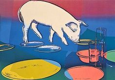 Fiesta Pig, 1979, is a Hand Signed Color Screenprint by Andy Warhol at Masterworks Fine Art Gallery.