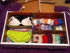 Organize your clothes drawers by cutting cardboard boxes and placing them in the drawers to make your clothes separate and organized!