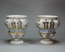 Pair of Italian drug jars, Castelli or Naples, 18t