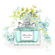"""INSTANT DOWNLOAD Watercolor Miss Dior perfume bottle art. """"Miss Dior."""" Modern high fashion wall art. Beautiful Home Décor."""