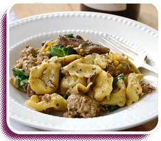 Tortellini with Sausage & Spinach recipe - Created by Julie Van Rosendaal Basil Pesto, Spinach Stuffed Chicken, Spinach Recipes, Tortellini, Kung Pao Chicken, Pasta Dishes, Potato Salad, Sausage, Calgary