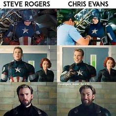 The difference between Steve Rogers & Chris Evans. More : - 🚨Turn On Post Notifications✔️ - Avengers Humor, Marvel Avengers, Marvel Jokes, Funny Marvel Memes, Dc Memes, Marvel Actors, Marvel Dc Comics, Captain Marvel, Wanda Avengers