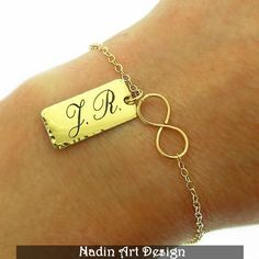 Schrift Gravur / ID Unendlichkeit Goldarmband von NadinArtDesign auf DaWanda.com