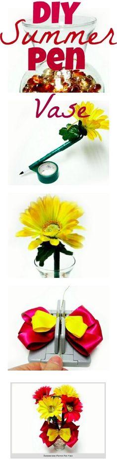 Love this DIY Summer Pen Vase. Time to freshen up my office desk! http://bowdabrablog.com/2012/06/12/summertime-decor-summer-vase-with-flower-pens/ See more about Office Desks, Pens and Desks.