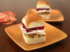 If 'sumptuous' in the title isn't enough to convince you, consider this: cranberry relish and turkey stuffing are the next two ingredients. Add a thin layer of wasabi mayo for an extra wallop of flavor for a very different #Thanksgiving sandwich.