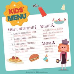 Hand-drawn menu for kids with young chef Free Vector