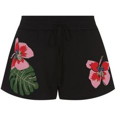Valentino Tropical Dream Shorts (€1.360) ❤ liked on Polyvore featuring shorts, bottoms, valentino, pants, flower shorts, summer shorts, knit shorts, short shorts and sport shorts