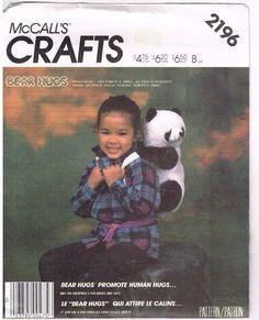 McCalls Pattern 2196 Bear Hugs Backpack 1985 Vintage Uncut Cute Panda Back Pack  #McCall