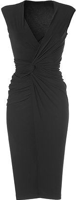 DONNA KARAN Black V-Neck Draped Jersey Dress