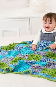 Many Squares Baby Blanket Free Crochet Pattern from Red Heart Yarns
