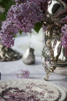 Silver and lilac with the mulberry plate. Beautiful!