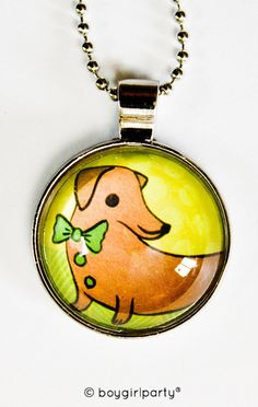 Dachshund Necklace - Glass Doxie Necklace
