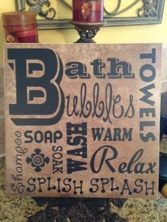 Bath Subway Art on 12x12 Ceramic Tile by LisaDsDesignsShop on Etsy, $20.00