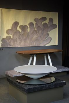 Float table by Luca Nichetto, Magnum table by Pierre Favresse and Anemone rug by François Dumas for La Chance - www.lachance.fr
