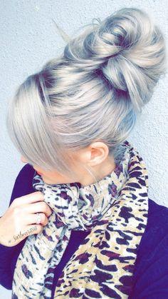 Messy silver hair bun