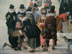 Winter Scene on a Frozen Canal (detail) - Hendrick Avercamp (1585 - 1634)