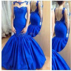Royal Blue Mermaid Gown £210 custom made