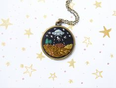 A Kidnapping Story Ufo Necklace Space Necklace Space Jewelry Hand Embroidered Space Necklace Embroidered Ufo Necklace Handmade Necklace by manaraya on Etsy #ufo #embroiderynecklace #space #handstitched #broderie #bordado #embroideryart #necklace #etsyfinds