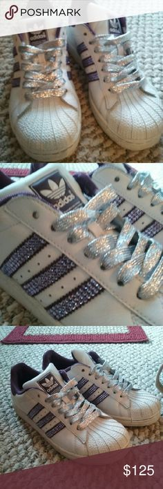 Customized Adidas superstar child's 5, women's 7 Like new,  i took them from blah to bling,  the stripes are a plum purple with lilac rhinestones,  they have silver laces adidas Shoes Athletic Shoes