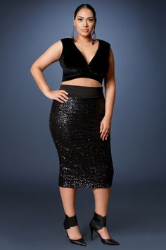 0162f62fd31 Z BLACK LABEL HOLIDAY- Sequins Skirt- Black. Curvily Yours