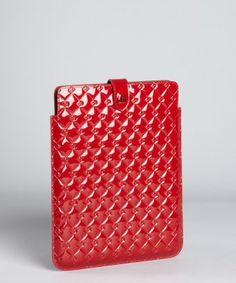 Fendi  red quilted patent leather iPad case