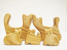 Cats Family 5 members Wooden Animal Puzzle by WoodenCaterpillar Learning Toys For Toddlers, Toddler Learning, Toddler Toys, Animal Puzzle, Eco Friendly Toys, Wooden Animals, Cat Design, My Etsy Shop, Crafty