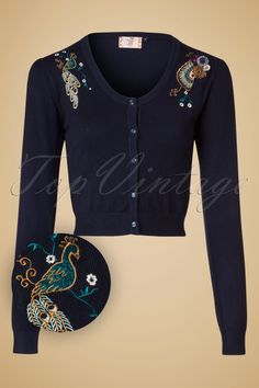 1950s Style Sweaters 50s Proud Peacock Cardigan in Night Blue £34.41 AT vintagedancer.com