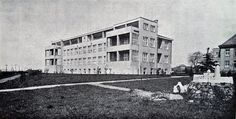 Německý Brod (Deutschbrod) Masaryk District Hospital. This 80-bed pavilion for non-pulmonary tuberculosis opened in 1933 at a cost of Kc 4,200.000. A donation of Kc 1,000.000 was made by the Central Social Insurance Company. The hospital, originally established in the late 1880s had considerably grown by the end of the 1930s (new operation theatre 1928, isolation pavilion 1930, tbc pavilion 1933, central kitchen 1937, planned internal diseases pavilion 1938) into a 420-bed institution. Central Kitchen, Hospitals, Pavilion, 1930s, Theatre, Bedding, History, Historia, Theatres