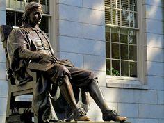 John Harvard statue.  Harvard
