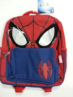 "Small Backpack - Marvel - Spiderman - Spider Mask 12"" New School Bag 052378"