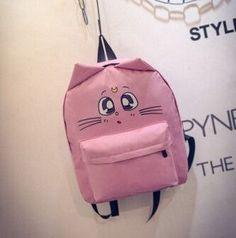 53fddb6e4227 wholesale women shoulder bag cat ear canvas cute school bags backpacks  teenage girls mochila feminina Travel Pack