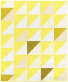 Trip the Light Free Pattern: Robert Kaufman Fabric Company Star Quilts, Quilt Blocks, Quilt Patterns Free, Free Pattern, Yellow Quilts, Half Square Triangle Quilts, Chevron Quilt, Cotton Quilting Fabric, Color Of The Year