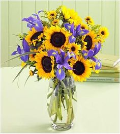Sunflower and Iris bouquet by 2flowers.com