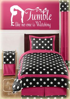 Gymnastics Silhouette vinyl wall art with Tumble like no one is Watching vinyl quote decal sticker (Choose your color) (Step Quotes Bad) My New Room, My Room, Girl Room, Girls Bedroom, Bedroom Ideas, Gymnastics Bedroom, Gymnastics Quotes, Gymnastics Stuff, Tumbling Gymnastics