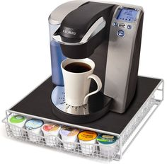 36 K Cup Holder Rack Storage for Keurig Coffee Pod Chrome Drawer Organizer & Mat #OxGord
