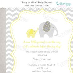 Baby Shower Printable Invitation  Elephant by whirligigspartyco, $12.00