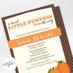 Sweet Little Pumpkin Baby Shower Invitation  by tickledpeachstudio, $15.00