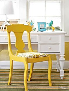 Yellow paint and fabric brighten this thrifted find! http://www.bhg.com/decorating/makeovers/furniture/before-and-after-furniture-makeovers/?socsrc=bhgpin030415delightfuldining&page=34