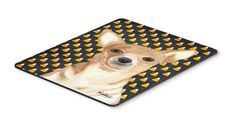 Candy Corn Chihuahua Halloween Mouse Pad, Hot Pad or Trivet