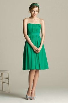 Strapless Ruched Knee Length Short Green Bridesmaid Dress Wholesale,Buy Halter Ruched Draping Chiffon Designer Green Bridesmaid Dress Wholesale At Wholesale Price From Tesbuy.com - Prom Dresses 2012_Plus Size Prom Dress_Plus Size Wedding Dress-TesBuy.com
