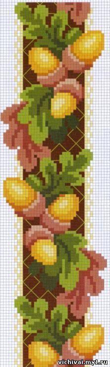 embellish w/ dimensional leaves Gallery. Fall Cross Stitch, Cross Stitch Borders, Cross Stitch Flowers, Cross Stitching, Cross Stitch Embroidery, Cross Stitch Patterns, Bead Loom Patterns, Beading Patterns, Embroidery Patterns