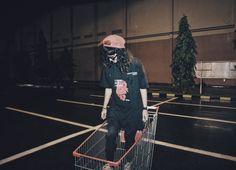 Grunge girl. Trolley photo.